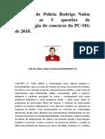 Delegado de Polícia Rodrigo Nalon Comenta as 5 Questões Do Concurso Das PC Fumarc Senhor Criminologia Aula Cursos Lelio Braga Calhau