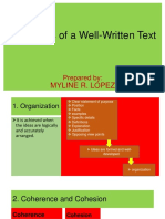 PROPERTIES OF A WELL WRITTEN TEXT for uploading
