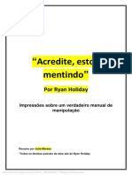 RESUMO - ACREDITE, ESTOU MENTINDO - RYAN HOLIDAY