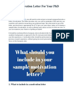 Sample Motivation Letter For Your PhD Application