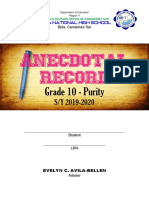 Anecdotal Record 10-Purity