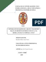 OPTIMIZACIÓN DE EQUIPOS DE CARGUÍO Y TRANSPORTE PARA EL INCREMENTO DE PRODUCCIÓN EN LA CIA MINERA ANTAPACCAY ESPINAR - CUSCO