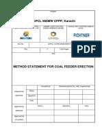 Method statement for coal feeder erection