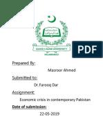 ECONOMIC CRISIS IN CONTEMPORARY PAKISTAN