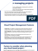 Cloud for managing projects