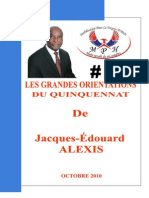 Les Grandes Orientations Du Quinquennat de Jacques-Edouard ALEXIS
