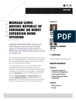 MORGAN LEWIS ADVISES REPUBLIC OF SURINAME ON DEBUT SOVEREIGN BOND OFFERING
