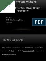 Ego Defenses in psychiatric disorders