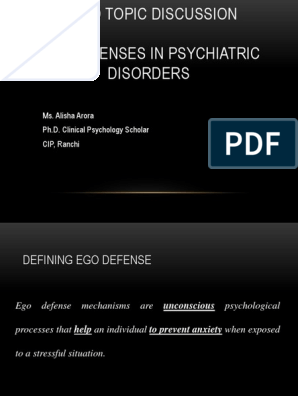 Ego Defenses In Psychiatric Disorders Defence Mechanisms Id