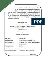 Curriculum & Prog Evaluation