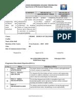 Course plan DTS REGULATION 2013