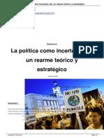 La Politica Como Incerteza Por Un Rearme Teorico y Estrategico