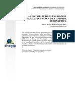 A CONTRIBUIÇÃO DA PSICOLOGIA PARA SEGURANCA DA ATIVIDADE AERONAUTICA