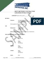 Sample Agreement between Contractor and Subcontractor