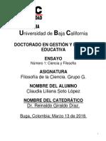 Claudia Soto Actividad 1 Filosofia de La Ciencia