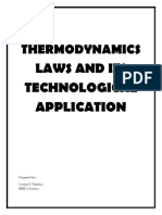 (TABELON,  JOCELYN P.) THERMODYNAMICS LAWS AND ITS TECHNOLOGICAL APPLICATION