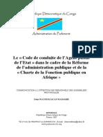 Le Code de conduite de de l'Agent public de l'Etat (2007)
