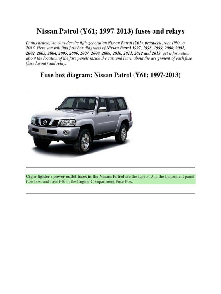 Nissan Patrol Fuse Box Vehicle Parts Vehicles