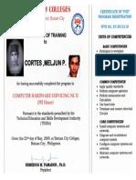 MELJUN CORTES TESDA 2009 CHS NC II 392 Hours Certificate of Training Computer Hardware Servicing