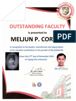 MELJUN CORTES TCU 2018 Certificate of Recognition Outstanding Faculty of TCU