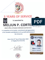 MELJUN CORTES TCU 2019 Certificate Recognization SERVICE AWARD 5 years of TCU OSAS
