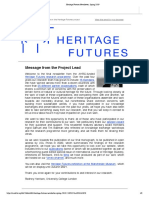 Heritage Futures Newsletter, Spring 2019