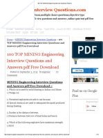 100 TOP MINING Engineering Interview Questions Answers