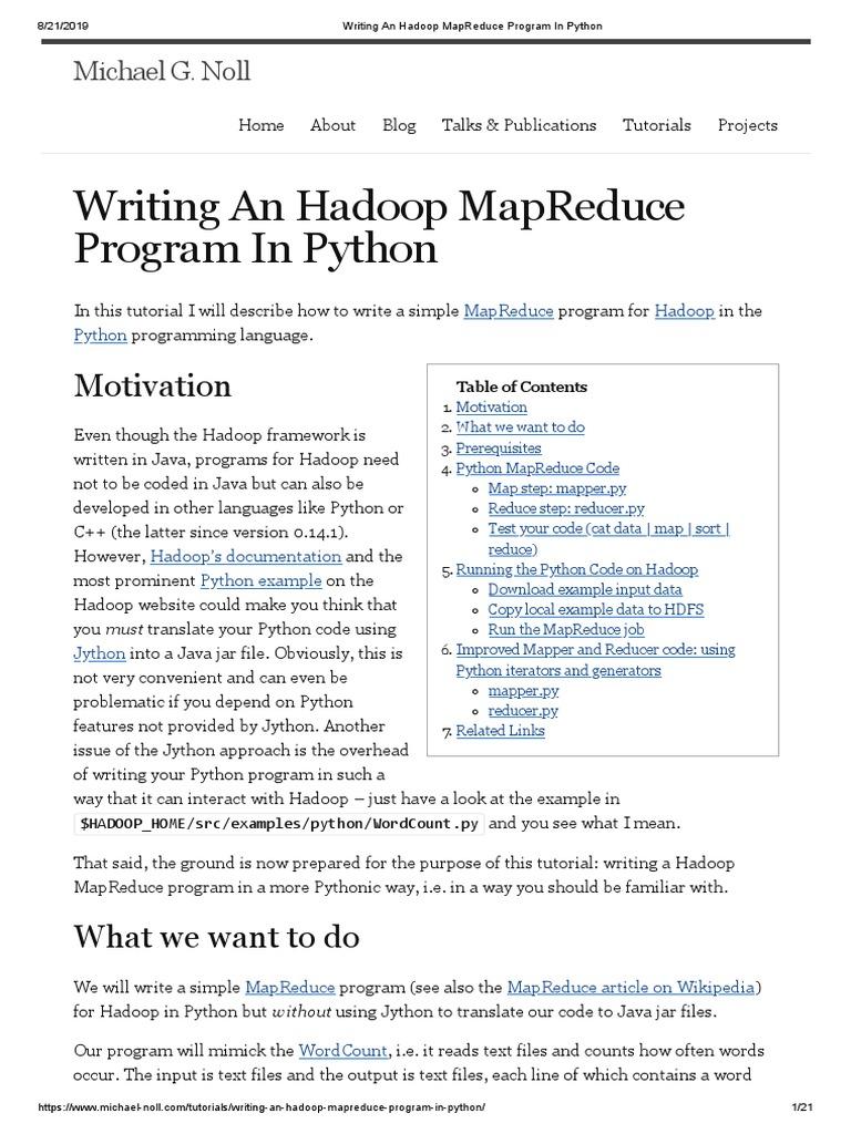 Writing An Hadoop MapReduce Program in Python  Apache Hadoop