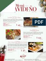 Menu Navideño Restaurante Arnie's  2019