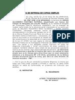 ACTA DE ENTREGA DE COPIAS SIMPLES
