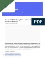 How to fix 504 Gateway Timeout Error on your WordPress Website?