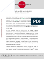Carta Trimestral Japan Deep Value Fund 2019 09