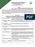 EXAMEN DOCENTE - DISEÑO DE PROYECTOS DE INVESTIGACION LEF PERIODO 6
