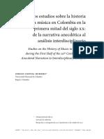 Los estudios sobre la historia de la música en Colombia en la primera mitad del siglo XX- de la narrativa anecdótica al análisis interdisciplinario