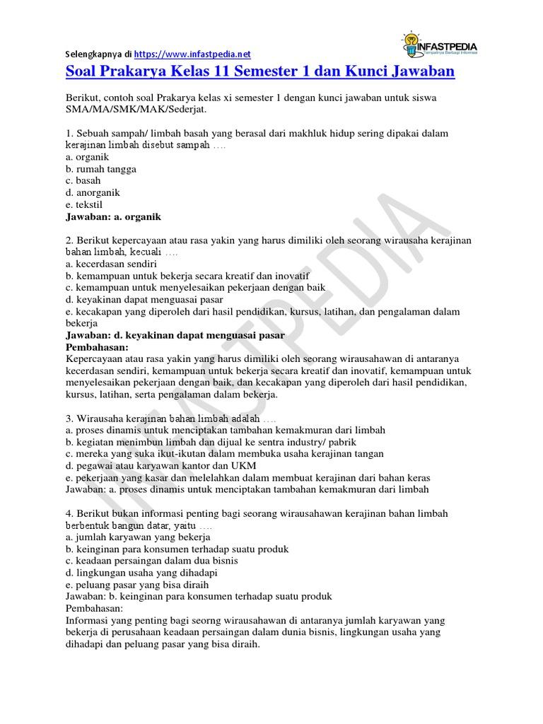 Soal Prakarya Kelas 11 Semester 1 Dan Kunci Jawaban