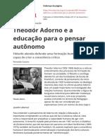 Theodor Adorno e a educação para o pensar autônomo