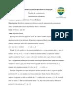 ALGORITMO LINEAL INFORME AULICO DE. PENSAMIENTO ANDRES VIVANCO