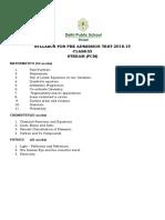 SYLLABUS ENTRANCE EXAM 2018-19 CLASS XI