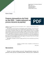 Prognozy demograficzne dla Polski  do roku 2050 — analiza wybranych aspektów  procesu starzenia się populacji