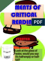 KEY ELEMENTS OF CRITICAL READING