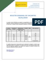 Boletín de vacantes de la Unidad de Funcionarios Internacionales