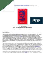 Nikola Tesla My Inventions Autobiography
