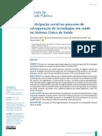 Participação social no processo de incorporação de tecnologias em saúde no Sistema Único de Saúde