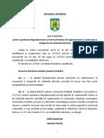 Regulament privind activitatea de reglementare in constructii