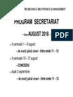 Program Secretariat August