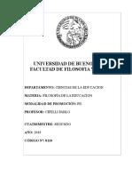 Programa FilOSOFIA DE LA EDUCACIÓN PROF CIFELLI