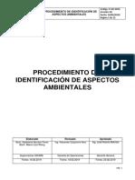 P-GO-0016 PROCEDIMIENTOS DE IDENTIFICACION DE ASPECTOS AMBIENTALES v.2 (Revisado y aceptado)