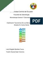 Clasificación Taxonómica de Microorganismos Cariogénicos