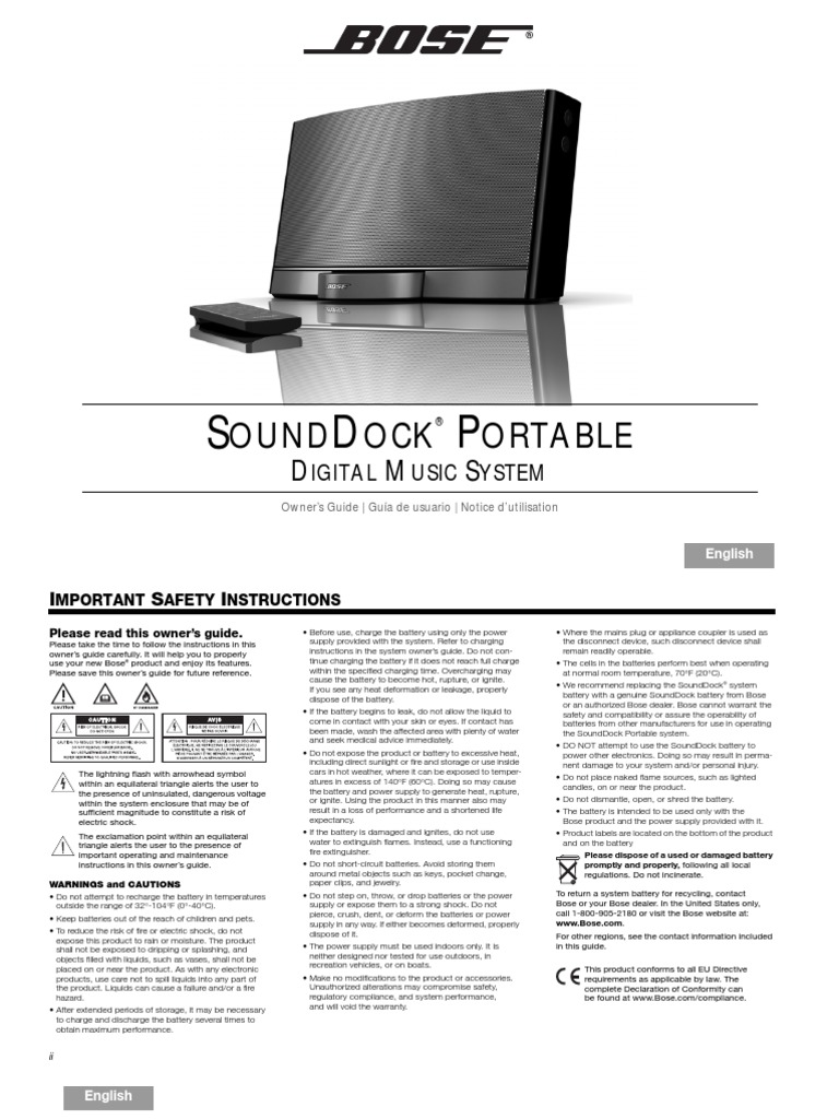 BOSE SoundDock Portable Manual | I Phone | I Pod