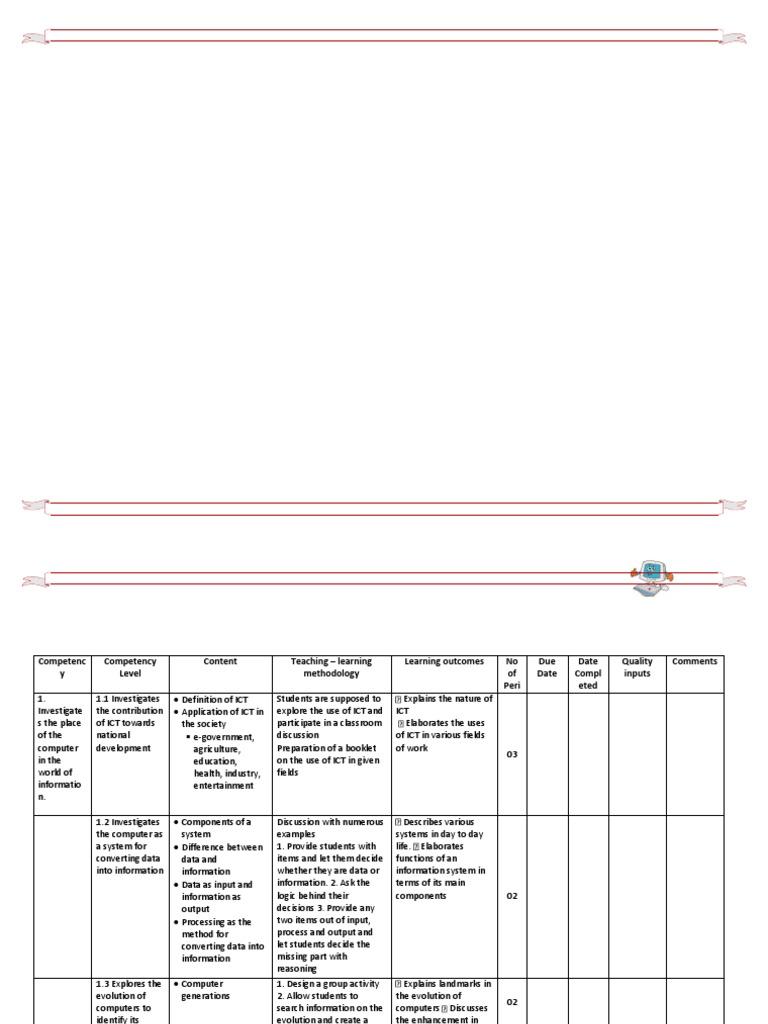 Grade 10 ICT LessonsPlan .docx | Spreadsheet | Logic Gate | Free 30-day  Trial | Scribd